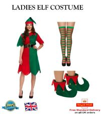 LADIES ELF COSTUME Santas Helper Suit Fancy Dress Ladies Xmas Outfit Accessories