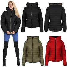 Womens Ladies Collard Hooded Quilted Padded Bubble Puffer Zip Up Jacket Coat