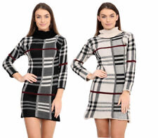 New Ladies Polo Neck Long Sleeve Tartan Knitted Midi Bodycon Jumper Dress (8-22)