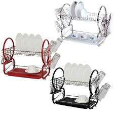 2 Tier Powder Coated Dish Drainer Sink Rack Cutlery Cup Drip Tray Plates Holder