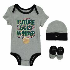Nike Romper Hat & Booties 3 Piece Gift Set Baby Boys Grey Size 0-6 6-12 Months