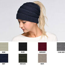 Women Girl Stretch Knit Hat Messy Bun Ponytail Beanie Holey Warm Winter