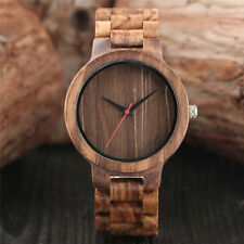 Casual Wooden Bamboo Bnad Analog Quartz Wrist Watch for Fashion Mens Womens Gift