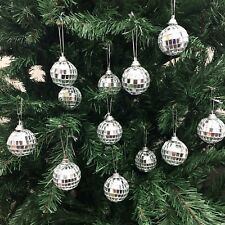 Christmas Disco Mirror Balls Baubles Silver Xmas Tree Wall Ornaments Decorations