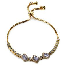 Fashion Sparkly Shiny Clear White Zircon Tennis Gold Plated Adjustable Bracelet