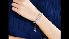 Sparkly Clear White Zircon 3 Layer Chain Tennis Gold Plated Adjustable Bracelet