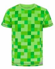 Minecraft All Over Creeper Boy's Green Cotton T-Shirt UK Sizes 5 to 12 Years