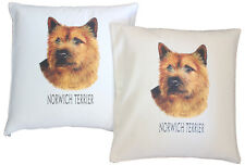 Norwich Terrier Breed of Dog H Cotton Cushion Cover - Cream or White - Gift Item