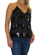 Finger Nail Sequin And Tassel Top, Chain Muscle Back Black NEW 6-16