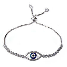 Fashion Clear White Zircon Blue Evil Eye Gold Plated Adjustable Bracelet Jewelry