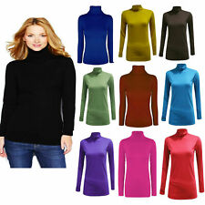 LADIES LONG SLEEVE POLO NECK ROLL NECK TOP WOMENS TURTLE NECK PLAIN T SHIRT 8-24