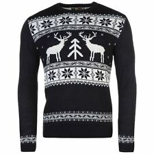 MENS NAVY REINDEER NOVELTY STAR FAIRISLE XMAS CHRISTMAS KNIT KNITTED JUMPER