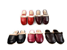 Ladies Leather  Warm Slippers Mules Non Slip Hard Sole Womens