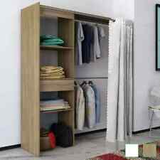 vidaXL Armario Ropero con Cortina Ajustable Anchura 121-168cm Color Blanco/Roble