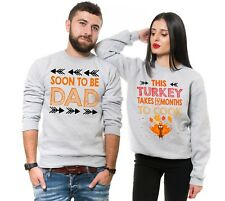 Thanksgiving Matching Couple Unisex Sweatshirts Pregnancy Announcement Sweaters