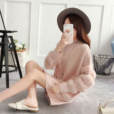 Womens Fashion Fur Sleevel Knitted Winter Sweaters Loose Tops Ladies Clothes