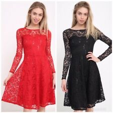 NEW Women Xmas Christmas Sexy Skater Ladies Red Black Swing Dress Plus Size 8-14