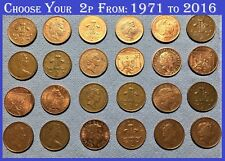 Choose Two Pence Circulated RARE 2p Coins From 1971 to 2016 Decimal Currency