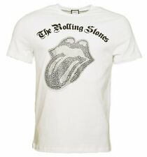 Official Men's White Rolling Stones Black and Silver Diamante Tongue T-Shirt fro