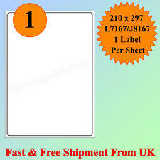 A4 SIZE 1 per sheet Address Labels Self Adhesive Inkjet Laser Printer CHEAPEST