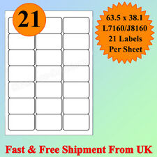 A4 SIZE 21 per sheet Address Labels Self Adhesive Inkjet Laser Printer CHEAPEST
