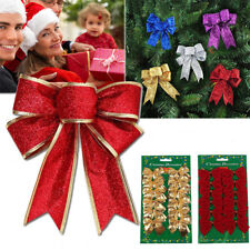 Christmas Tree Bow Decoration Baubles XMAS Party Garden Bows Ornament Size S L