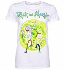 Official Women's White Rick And Morty Portal Boyfriend T-Shirt With Back Print