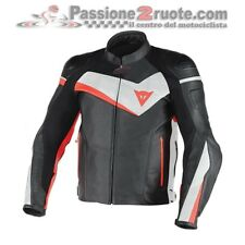 Giacca Dainese Veloster Pelle Nero Bianco Rosso Fluo moto jacket