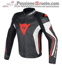 Giacca Dainese Assen Pelle Nero Bianco Rosso Fluo moto jacket