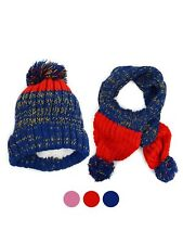 Boys and Girls Knitted Pom-Pom Beanie and Scarf Warm Winter Set