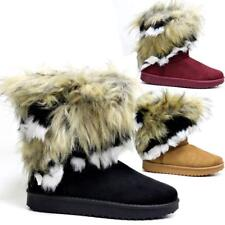NEW LADIES FUR BOOTS WOMENS GIRLS WINTER WARM SNUG HUGG YETI THERMAL SHOES SIZE