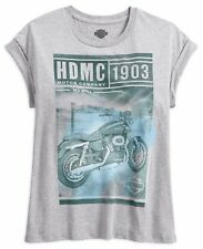 Genuine Harley Davidson Women's Photo Real Rolled Sleeve T-Shirt Top 96060-18VW
