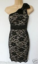 BNWT new LIPSY black beige lace one shoulder bow detail stretch ocassion dress
