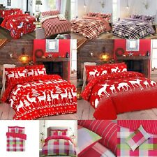 Winter & Christmas Tree Santa Print Duvet Quilt Cover Bedding Set & Pillowcases