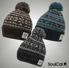 Mens Branded SoulCal Stylish Winter Knitted Dogoda Bobble Hat Headwear