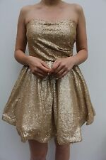 Maya Petite Gold Corset Sequin Sweetheart Evening Prom Cocktail Dress 6 - 10 New