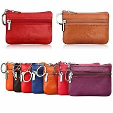 NEW UNISEX LUXURY SOFT REAL LEATHER ZIP TOP COIN PURSE POUCH WALLET KEY RING
