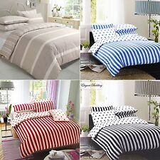Stripe Duvet Cover with Pillowcase Quilt Cover Bedding Set Single Double King