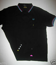 SPACE INVADERS POLO Fred Perry PIQUE T SHIRT LARGE game arcade ship robot aliens