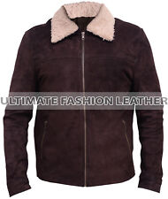 Men's Walking Dead Rick Grimes Andrew Lincoln Fur Brown Suede Leather Jacket