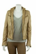 Ladies Sand Napa Croc Effect Leather Slim Tight Fitted Short Biker Jacket Bike