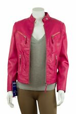 Ladies Fuchsia Pink Napa Leather Slim Tight Fitted Short Biker Jacket Bike