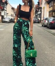 Zara Navy Green Leaf Tropical Printed Long Palazzo Trousers Size XS, S, M