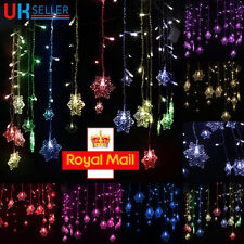 LED Snowflake Fairy String Curtain Window Light Christmas Wedding Party Decor