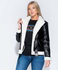 New Womens Shearling Lined PU Leather Belted Ladies Aviator Jacket