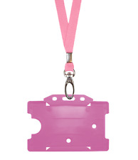 Pink ID Neck Strap Cord Clip Lanyard & Plastic Card Badge Tag Work Pass Holder