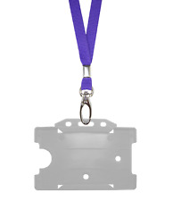 Purple ID Neck Strap Cord Clip Lanyard & Clear Card Badge Tag Work Pass Holder