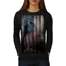 Wellcoda American Eagle Glory Womens Long Sleeve T-shirt, US Flag Casual Design