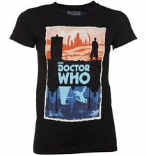 Official Women's Black Doctor Who Gallifrey And Skaro T-Shirt