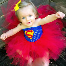 Super Hero Tutu Dress Birthday Party Costume Batman Superman Baby Girl Props